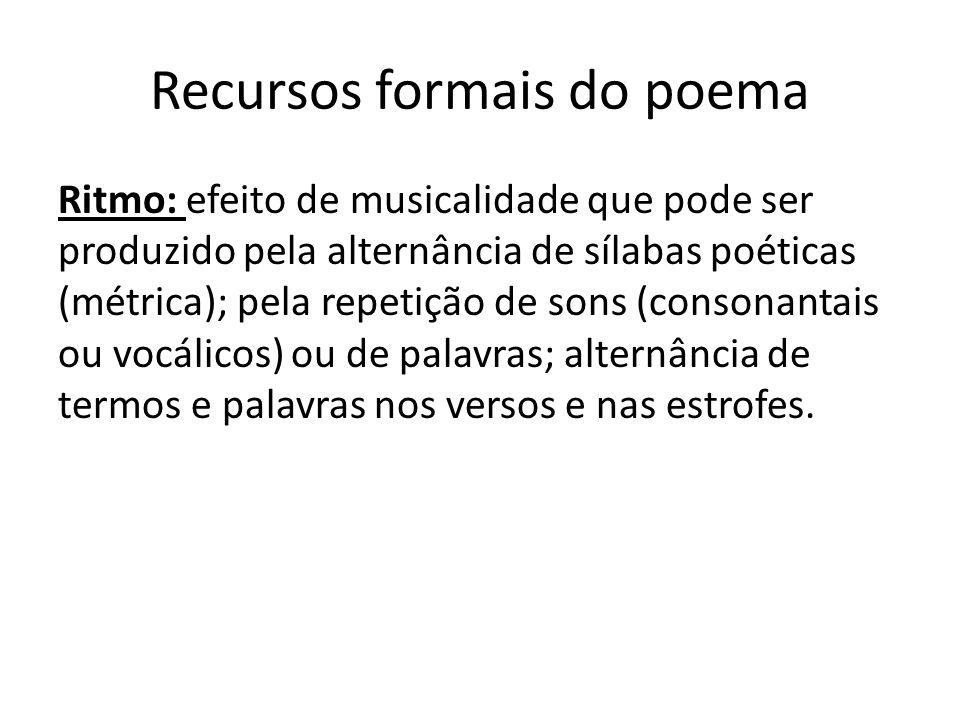 Recursos formais do poema Ritmo: efeito de musicalidade que pode ser produzido pela alternância de sílabas poéticas (métrica); pela repetição de sons