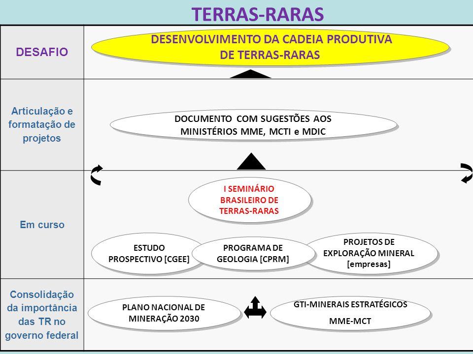 TERRAS-RARAS 12 DESAFIO Articulação e formatação de projetos Em curso Consolidação da importância das TR no governo federal GTI-MINERAIS ESTRATÉGICOS MME-MCT GTI-MINERAIS ESTRATÉGICOS MME-MCT PLANO NACIONAL DE MINERAÇÃO 2030 PLANO NACIONAL DE MINERAÇÃO 2030 DOCUMENTO COM SUGESTÕES AOS MINISTÉRIOS MME, MCTI e MDIC DESENVOLVIMENTO DA CADEIA PRODUTIVA DE TERRAS-RARAS PROJETOS DE EXPLORAÇÃO MINERAL [empresas] I SEMINÁRIO BRASILEIRO DE TERRAS-RARAS ESTUDO PROSPECTIVO [CGEE] PROGRAMA DE GEOLOGIA [CPRM]