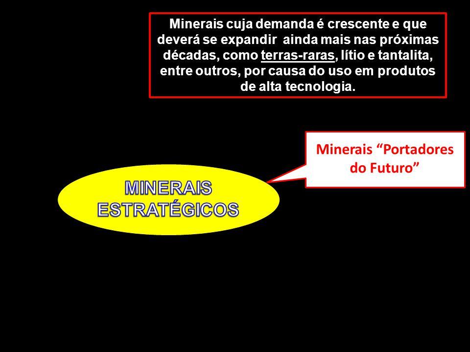 9 Minerais Portadores do Futuro Minerais cuja demanda é crescente e que deverá se expandir ainda mais nas próximas décadas, como terras-raras, lítio e tantalita, entre outros, por causa do uso em produtos de alta tecnologia.