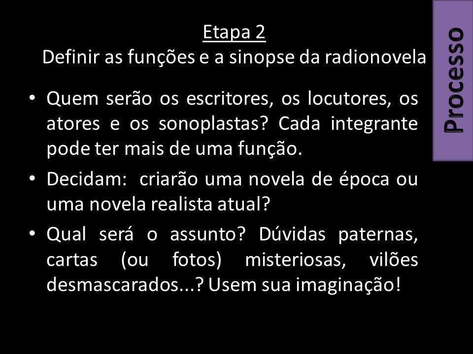 Etapa 2 Definir as funções e a sinopse da radionovela Quem serão os escritores, os locutores, os atores e os sonoplastas.