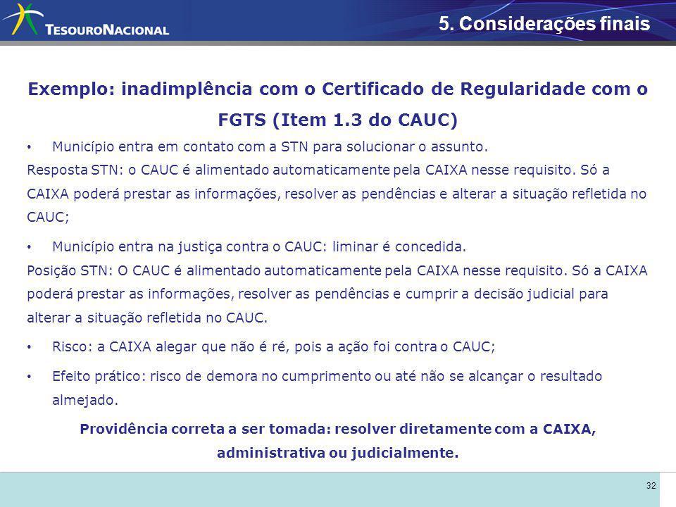 32 Exemplo: inadimplência com o Certificado de Regularidade com o FGTS (Item 1.3 do CAUC) Município entra em contato com a STN para solucionar o assunto.