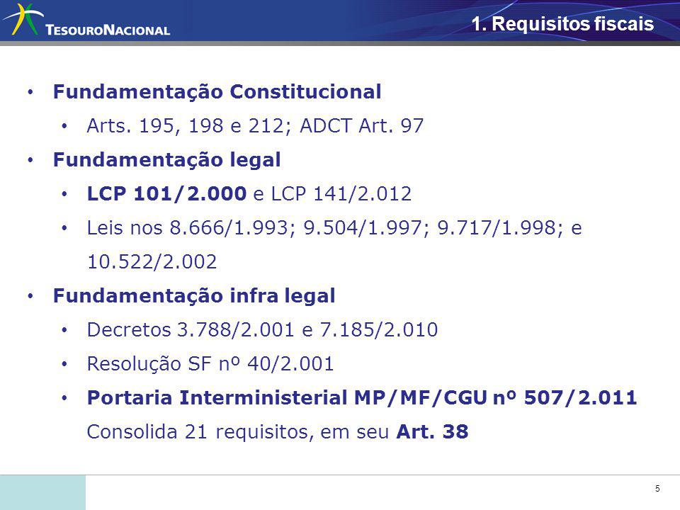5 1. Requisitos fiscais Fundamentação Constitucional Arts. 195, 198 e 212; ADCT Art. 97 Fundamentação legal LCP 101/2.000 e LCP 141/2.012 Leis nos 8.6