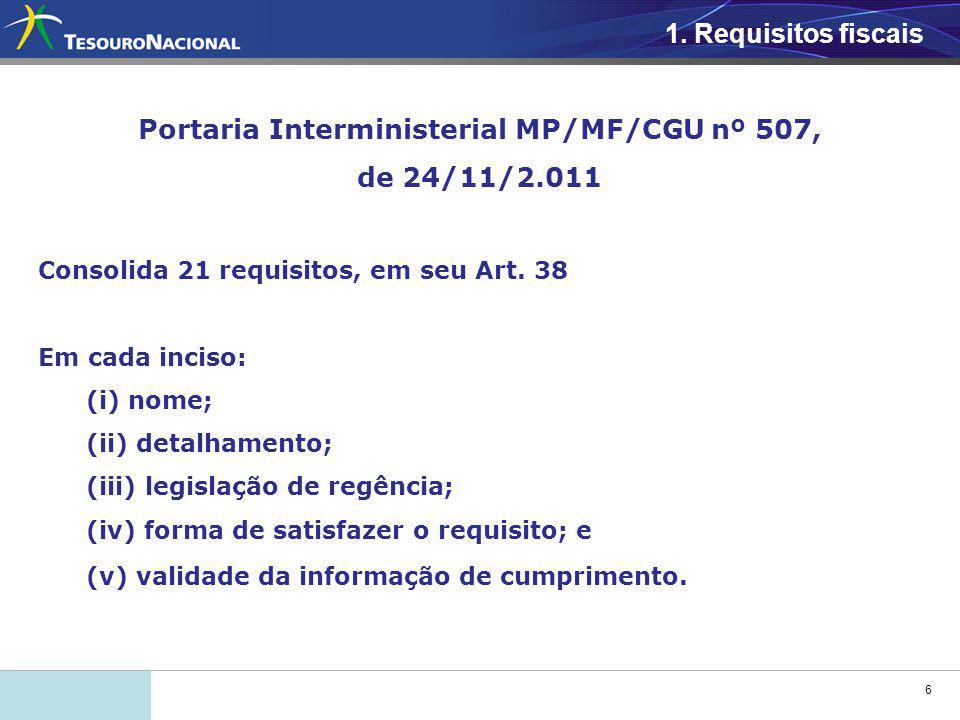 6 1. Requisitos fiscais Portaria Interministerial MP/MF/CGU nº 507, de 24/11/2.011 Consolida 21 requisitos, em seu Art. 38 Em cada inciso: (i) nome; (