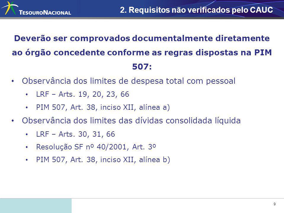 9 Deverão ser comprovados documentalmente diretamente ao órgão concedente conforme as regras dispostas na PIM 507: Observância dos limites de despesa total com pessoal LRF – Arts.