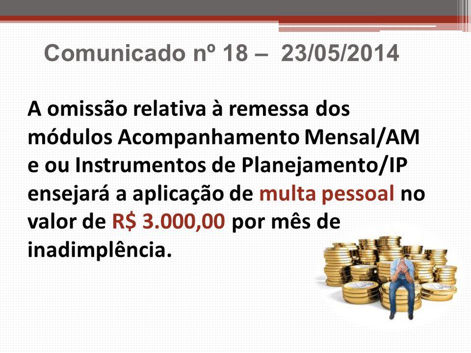A omissão relativa à remessa dos módulos Acompanhamento Mensal/AM e ou Instrumentos de Planejamento/IP ensejará a aplicação de multa pessoal no valor