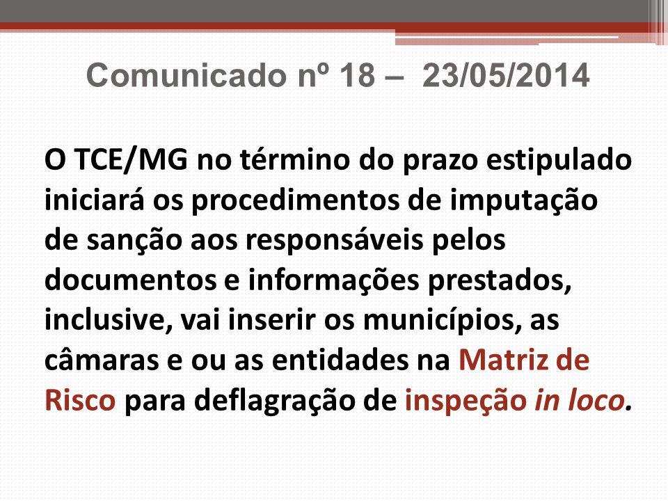 O TCE/MG no término do prazo estipulado iniciará os procedimentos de imputação de sanção aos responsáveis pelos documentos e informações prestados, in
