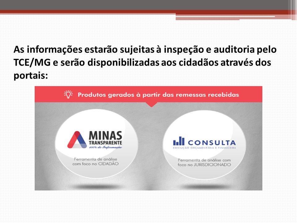 As informações estarão sujeitas à inspeção e auditoria pelo TCE/MG e serão disponibilizadas aos cidadãos através dos portais:
