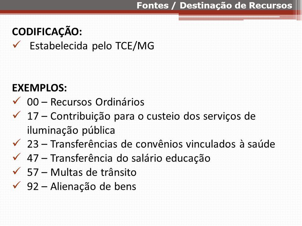 CODIFICAÇÃO: Estabelecida pelo TCE/MG EXEMPLOS: 00 – Recursos Ordinários 17 – Contribuição para o custeio dos serviços de iluminação pública 23 – Tran