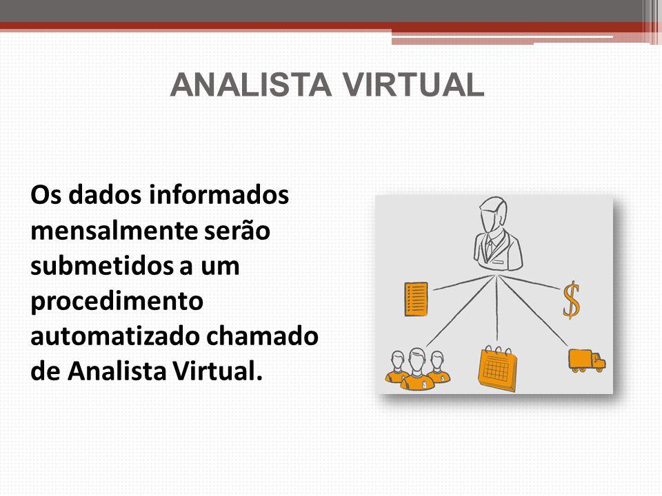 ANALISTA VIRTUAL Os dados informados mensalmente serão submetidos a um procedimento automatizado chamado de Analista Virtual.