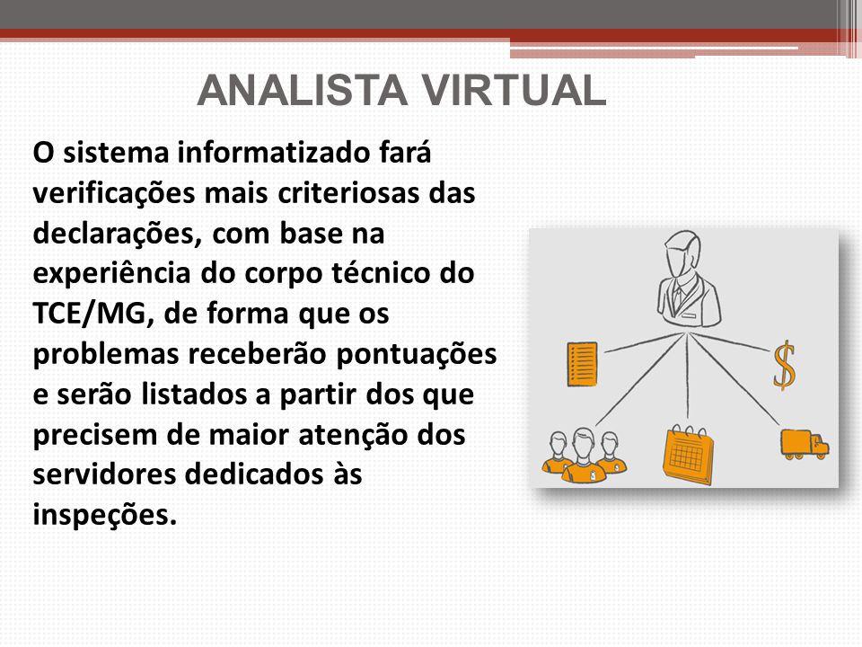 ANALISTA VIRTUAL O sistema informatizado fará verificações mais criteriosas das declarações, com base na experiência do corpo técnico do TCE/MG, de fo