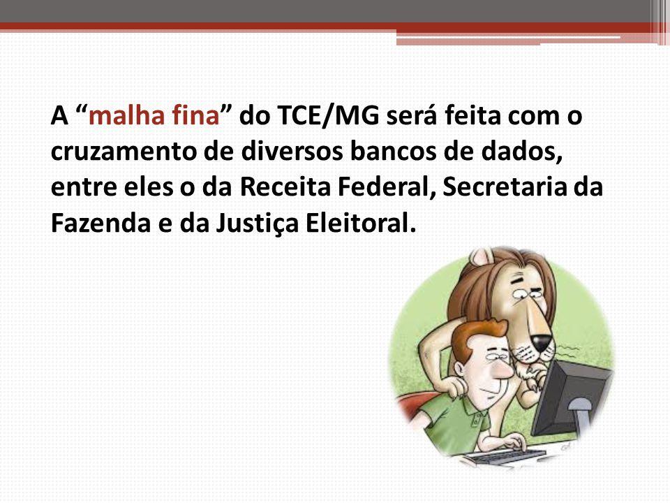 """A """"malha fina"""" do TCE/MG será feita com o cruzamento de diversos bancos de dados, entre eles o da Receita Federal, Secretaria da Fazenda e da Justiça"""