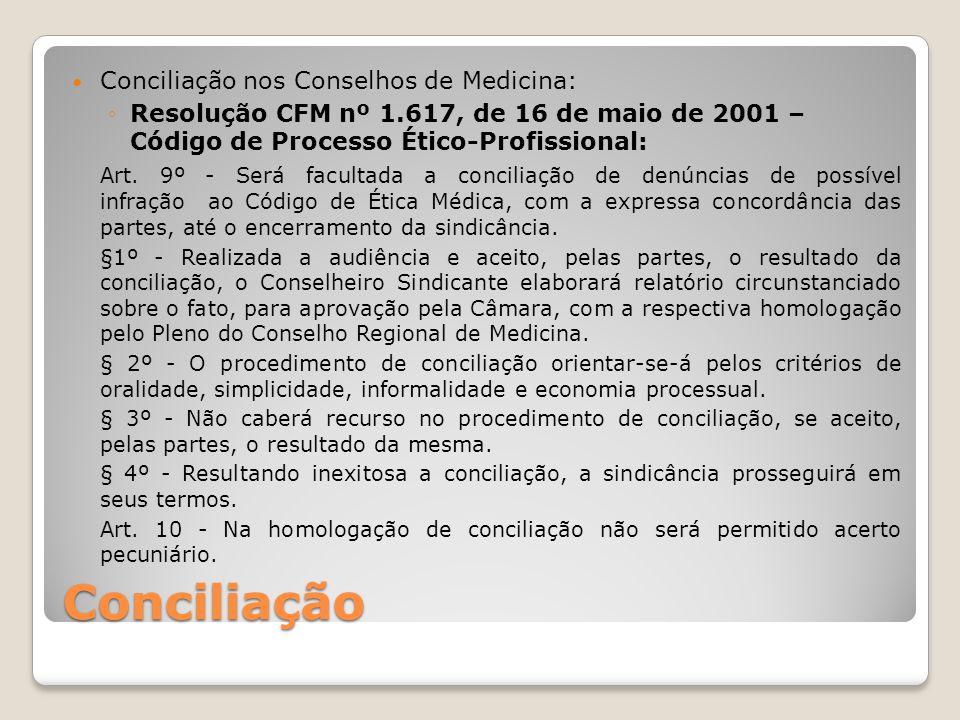 Conciliação Conciliação nos Conselhos de Medicina (continuação): ◦Resolução CFM nº 1.897, de 17 de abril de 2009: Art.