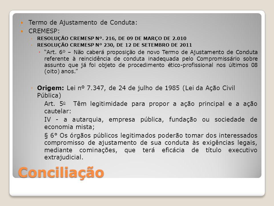 Conciliação Termo de Ajustamento de Conduta: CREMESP: ◦RESOLUÇÃO CREMESP Nº. 216, DE 09 DE MARÇO DE 2.010 ◦RESOLUÇÃO CREMESP Nº 230, DE 12 DE SETEMBRO