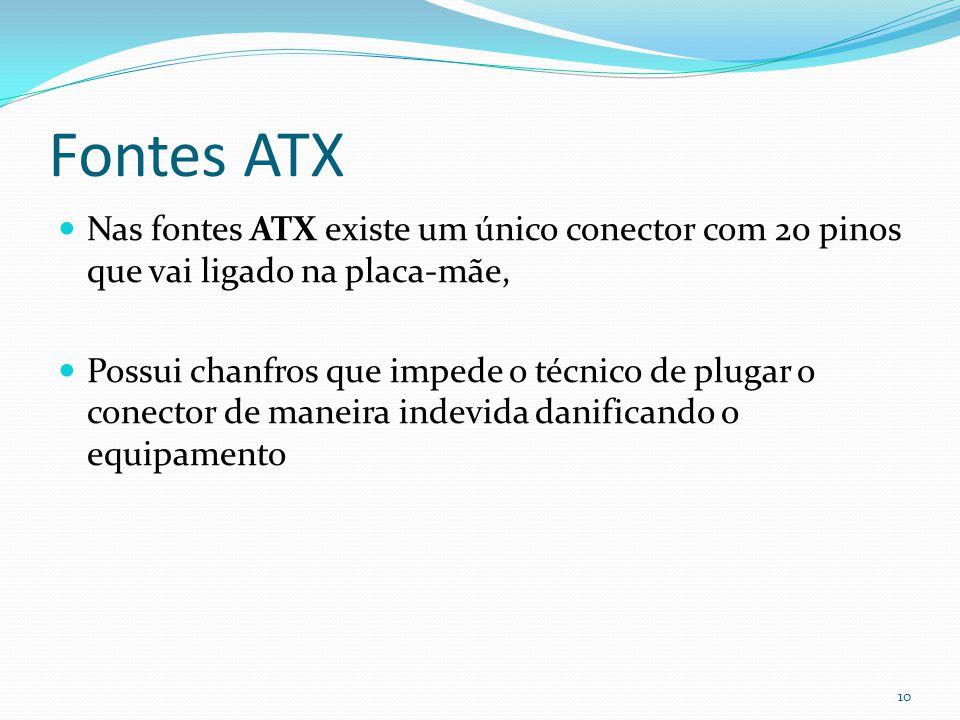 Fontes ATX Nas fontes ATX existe um único conector com 20 pinos que vai ligado na placa-mãe, Possui chanfros que impede o técnico de plugar o conector