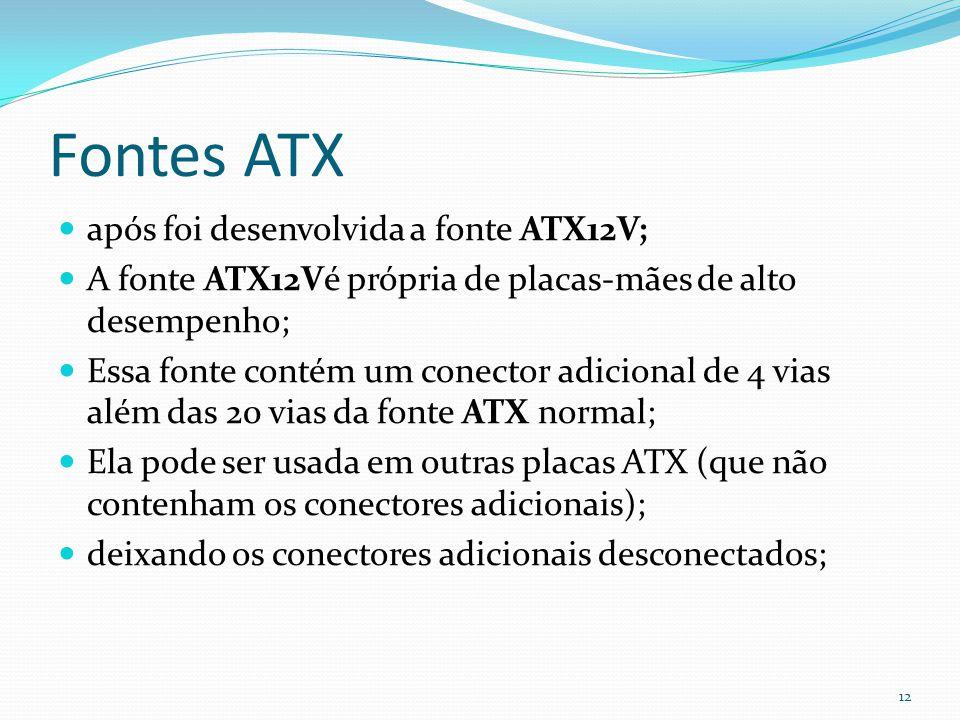Fontes ATX após foi desenvolvida a fonte ATX12V; A fonte ATX12Vé própria de placas-mães de alto desempenho; Essa fonte contém um conector adicional de