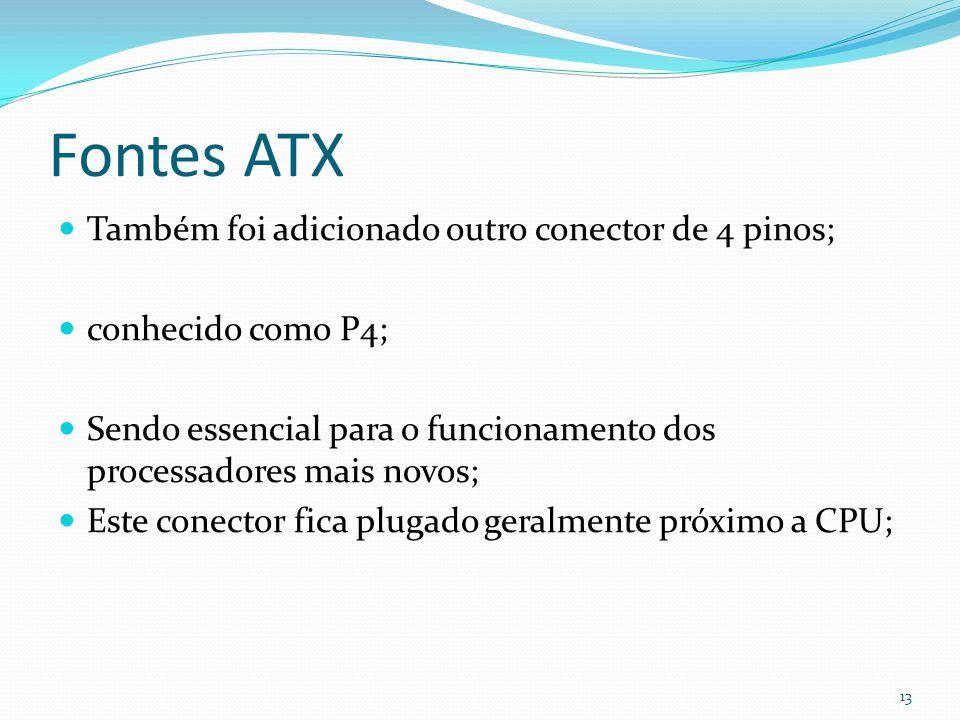 Fontes ATX Também foi adicionado outro conector de 4 pinos; conhecido como P4; Sendo essencial para o funcionamento dos processadores mais novos; Este