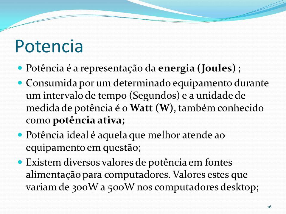 Potencia Potência é a representação da energia (Joules) ; Consumida por um determinado equipamento durante um intervalo de tempo (Segundos) e a unidad