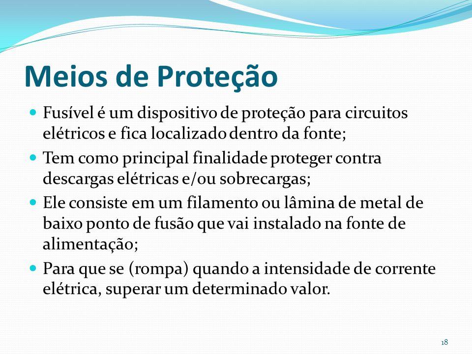 Meios de Proteção Fusível é um dispositivo de proteção para circuitos elétricos e fica localizado dentro da fonte; Tem como principal finalidade prote