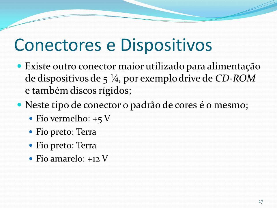 Conectores e Dispositivos Existe outro conector maior utilizado para alimentação de dispositivos de 5 ¼, por exemplo drive de CD-ROM e também discos r