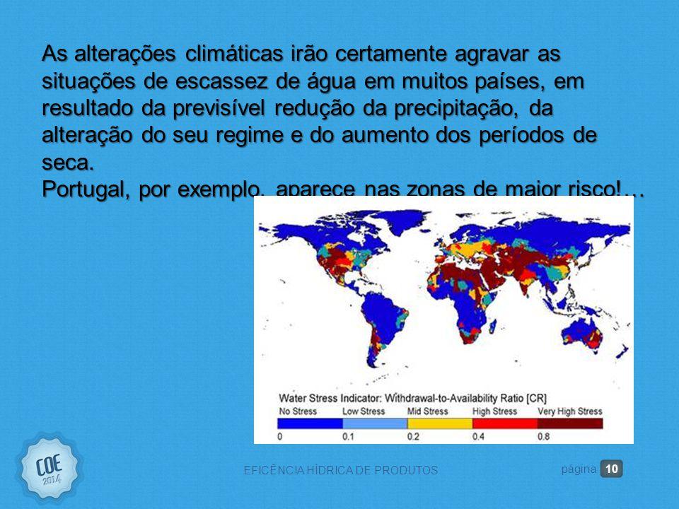 10 EFICÊNCIA HÍDRICA DE PRODUTOS página As alterações climáticas irão certamente agravar as situações de escassez de água em muitos países, em resultado da previsível redução da precipitação, da alteração do seu regime e do aumento dos períodos de seca.