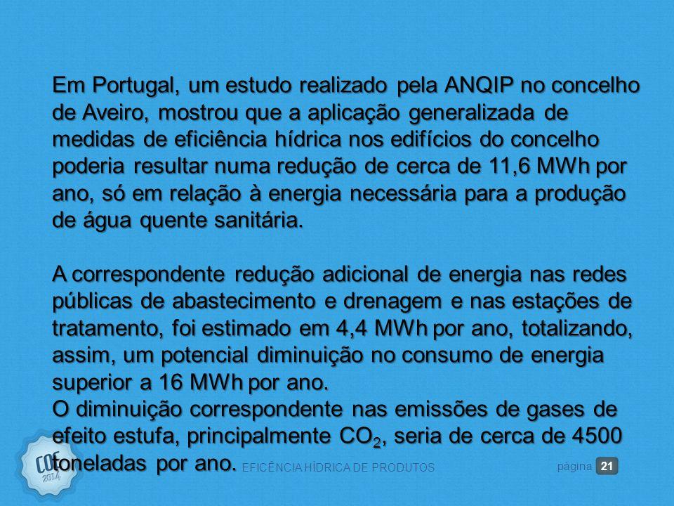21 EFICÊNCIA HÍDRICA DE PRODUTOS página Em Portugal, um estudo realizado pela ANQIP no concelho de Aveiro, mostrou que a aplicação generalizada de medidas de eficiência hídrica nos edifícios do concelho poderia resultar numa redução de cerca de 11,6 MWh por ano, só em relação à energia necessária para a produção de água quente sanitária.