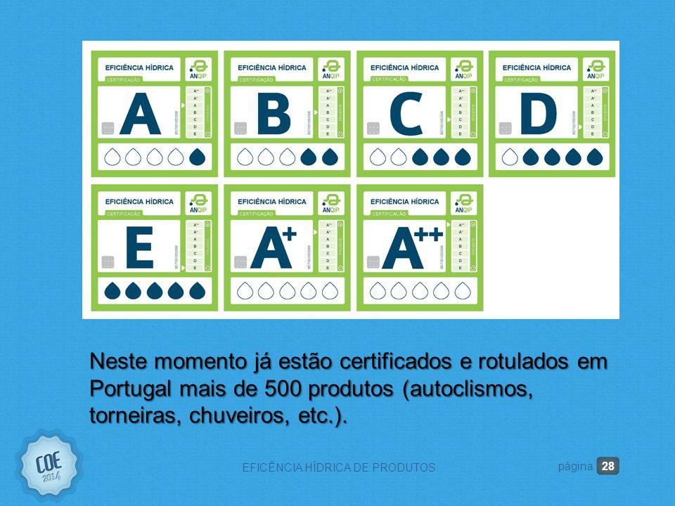 28 EFICÊNCIA HÍDRICA DE PRODUTOS página Neste momento já estão certificados e rotulados em Portugal mais de 500 produtos (autoclismos, torneiras, chuveiros, etc.).