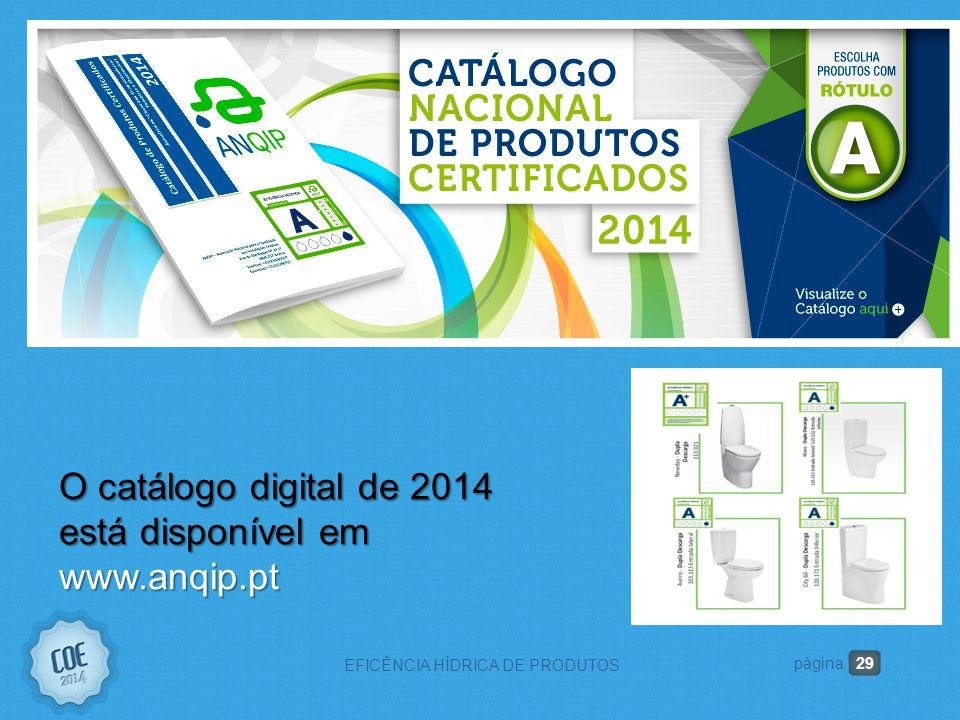 29 EFICÊNCIA HÍDRICA DE PRODUTOS página O catálogo digital de 2014 está disponível em www.anqip.pt