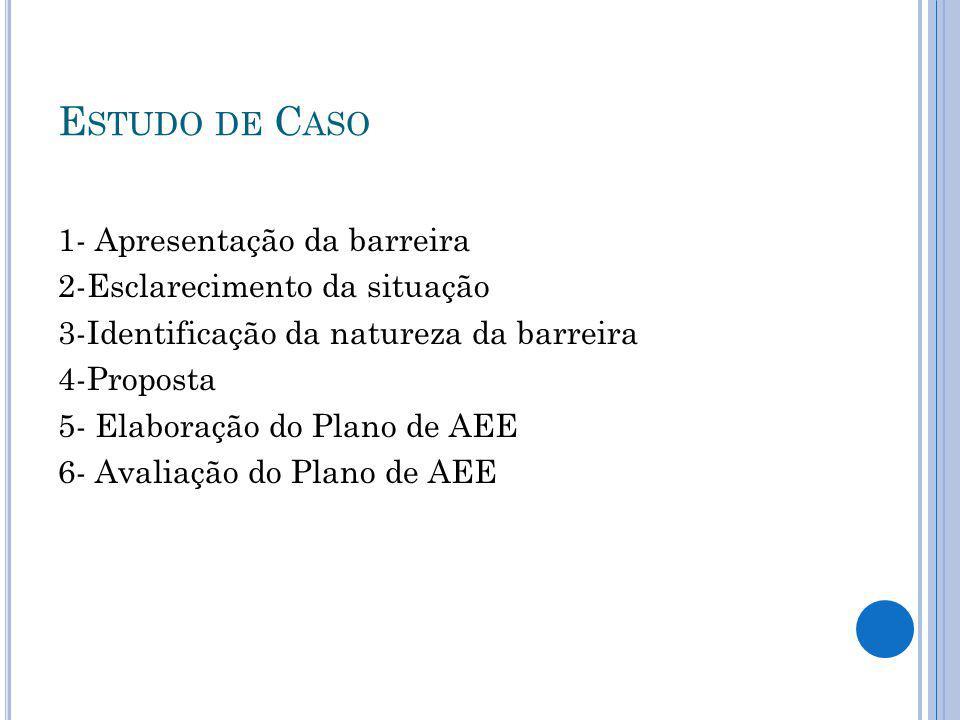 E STUDO DE C ASO 1- Apresentação da barreira 2-Esclarecimento da situação 3-Identificação da natureza da barreira 4-Proposta 5- Elaboração do Plano de AEE 6- Avaliação do Plano de AEE