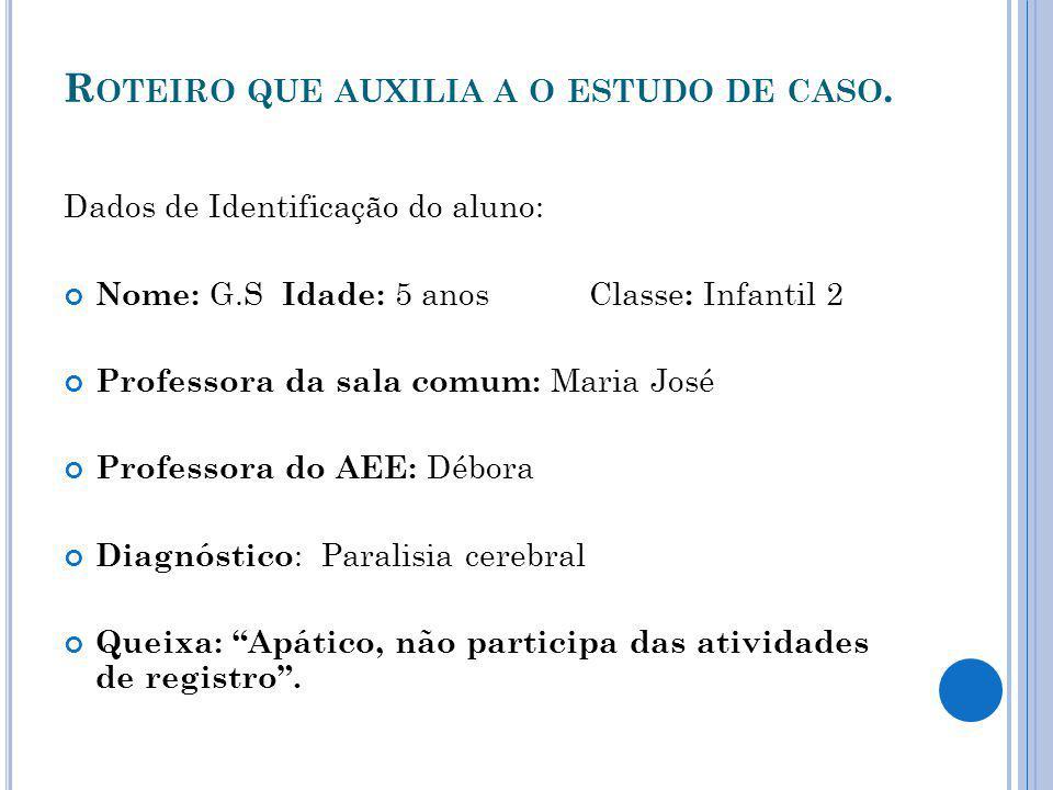R OTEIRO QUE AUXILIA A O ESTUDO DE CASO.