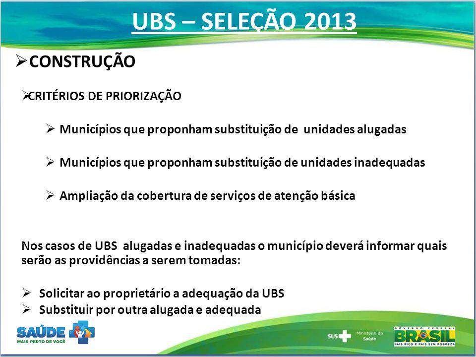 UBS – SELEÇÃO 2013  CONSTRUÇÃO  CRITÉRIOS DE PRIORIZAÇÃO  Municípios que proponham substituição de unidades alugadas  Municípios que proponham sub