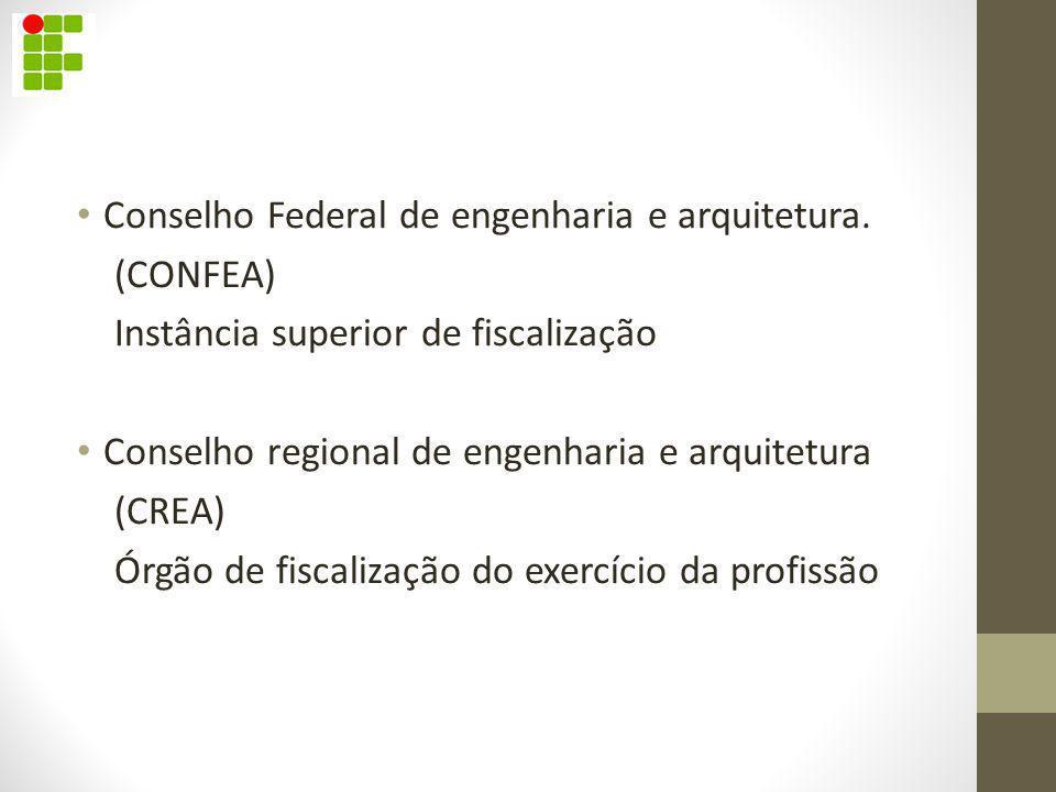 Conselho Federal de engenharia e arquitetura. (CONFEA) Instância superior de fiscalização Conselho regional de engenharia e arquitetura (CREA) Órgão d