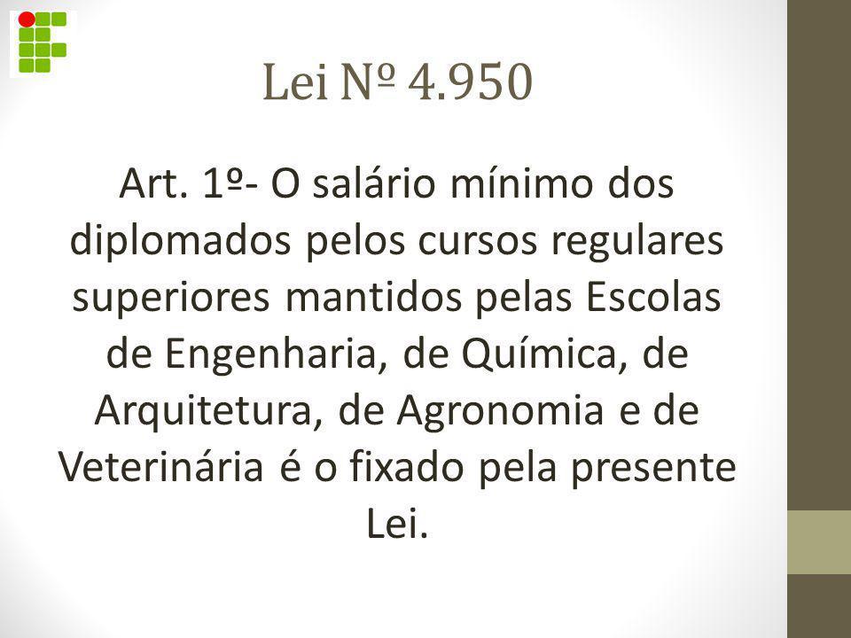 Lei Nº 4.950 Art. 1º- O salário mínimo dos diplomados pelos cursos regulares superiores mantidos pelas Escolas de Engenharia, de Química, de Arquit