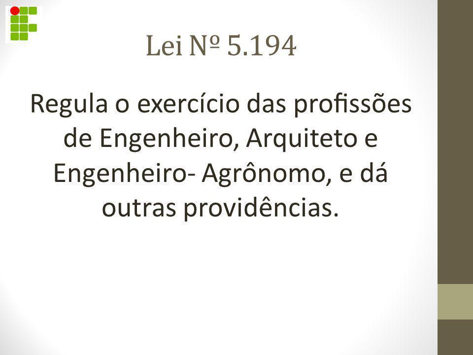 Lei Nº 5.194 Regula o exercício das profissões de Engenheiro, Arquiteto e Engenheiro- Agrônomo, e dá outras providências.