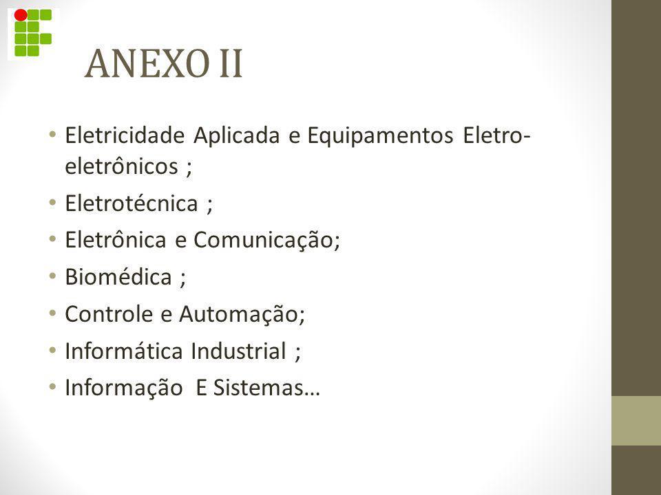 ANEXO II Eletricidade Aplicada e Equipamentos Eletro- eletrônicos ; Eletrotécnica ; Eletrônica e Comunicação; Biomédica ; Controle e Automação