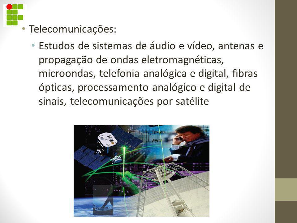 Telecomunicações: Estudos de sistemas de áudio e vídeo, antenas e propagação de ondas eletromagnéticas, microondas, telefonia analógica e digital, fib