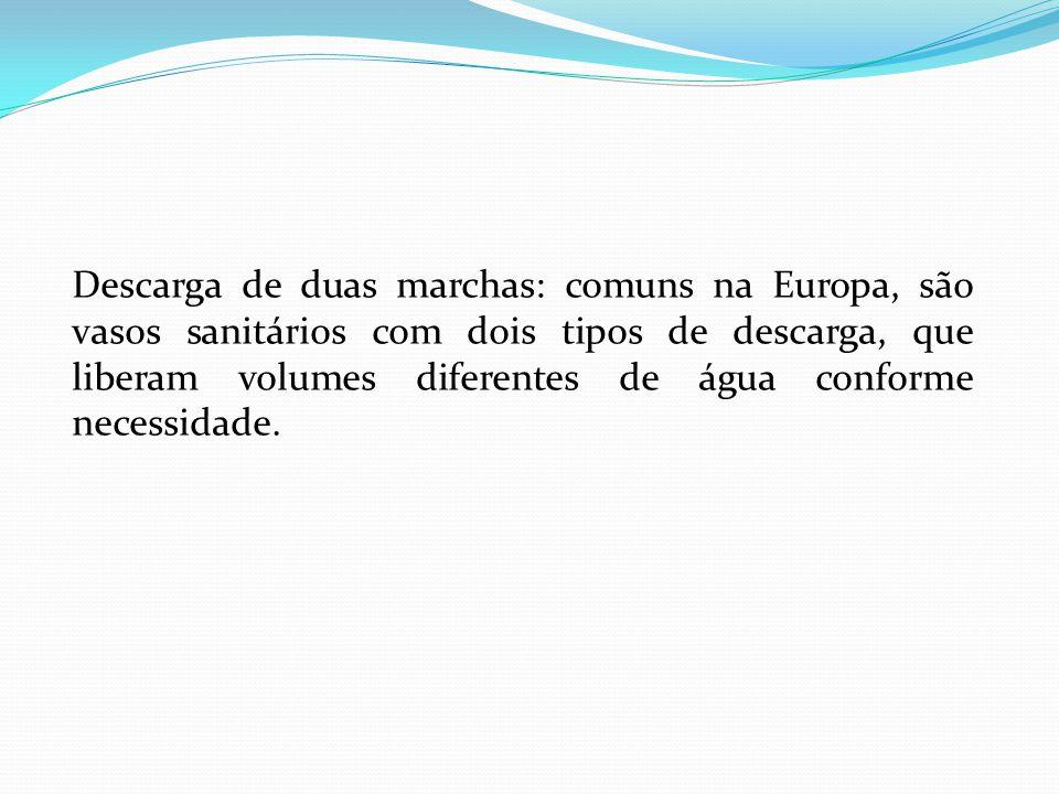 Descarga de duas marchas: comuns na Europa, são vasos sanitários com dois tipos de descarga, que liberam volumes diferentes de água conforme necessida