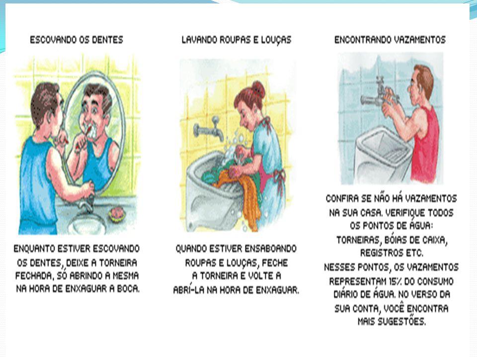 No banheiro: reduza o tempo de banho e economize pelo menos seis litros por minuto; encha a banheira só até a metade; feche a torneira enquanto faz a barba ou escova os dentes.