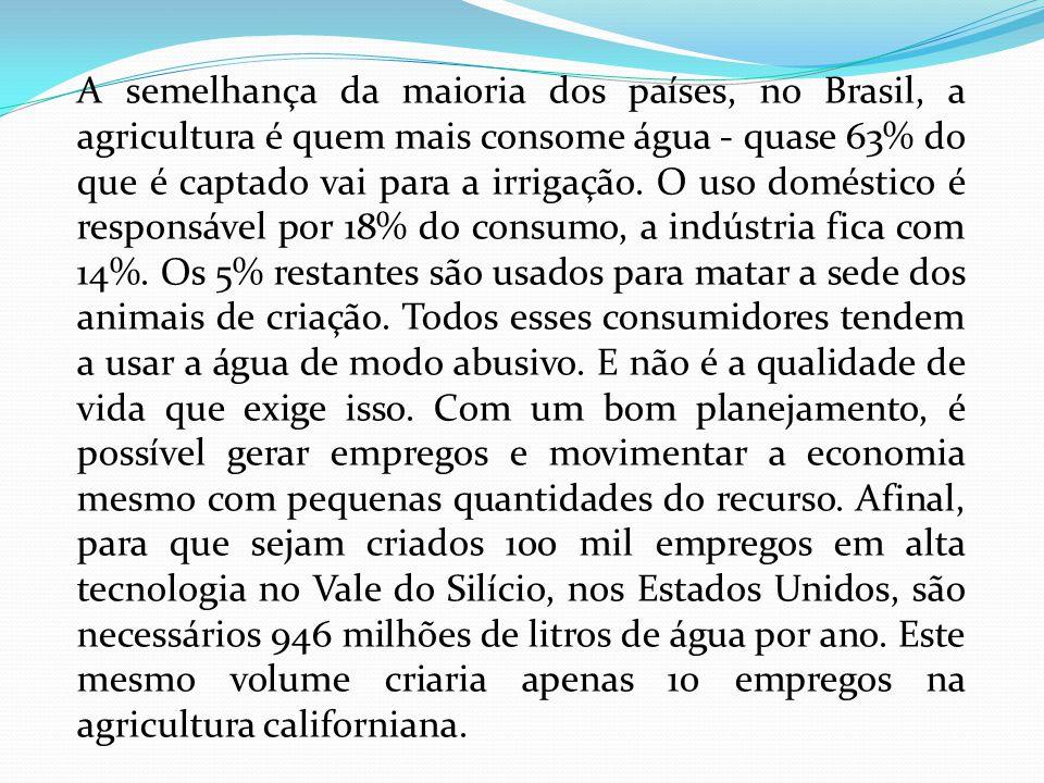 Roça perduária A irrigação é vital para a agricultura na maior parte do planeta e em certas regiões do Brasil.