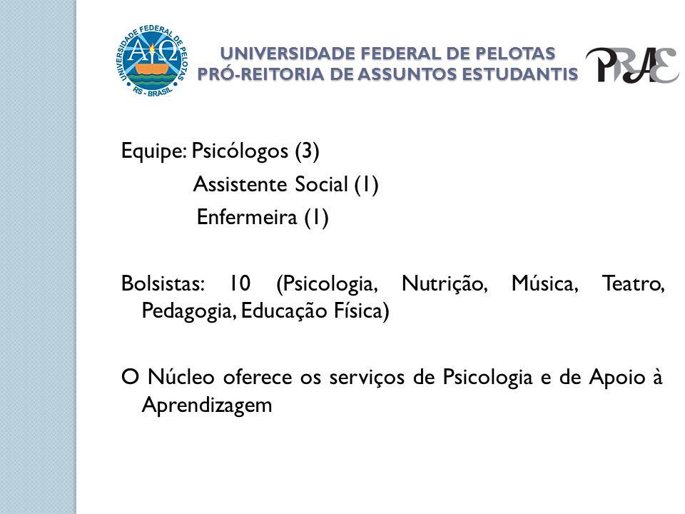 UNIVERSIDADE FEDERAL DE PELOTAS PRÓ-REITORIA DE ASSUNTOS ESTUDANTIS Equipe: Psicólogos (3) Assistente Social (1) Enfermeira (1) Bolsistas: 10 (Psicolo