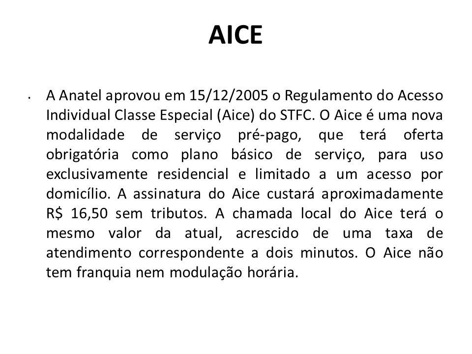 AICE A Anatel aprovou em 15/12/2005 o Regulamento do Acesso Individual Classe Especial (Aice) do STFC. O Aice é uma nova modalidade de serviço pré-pag