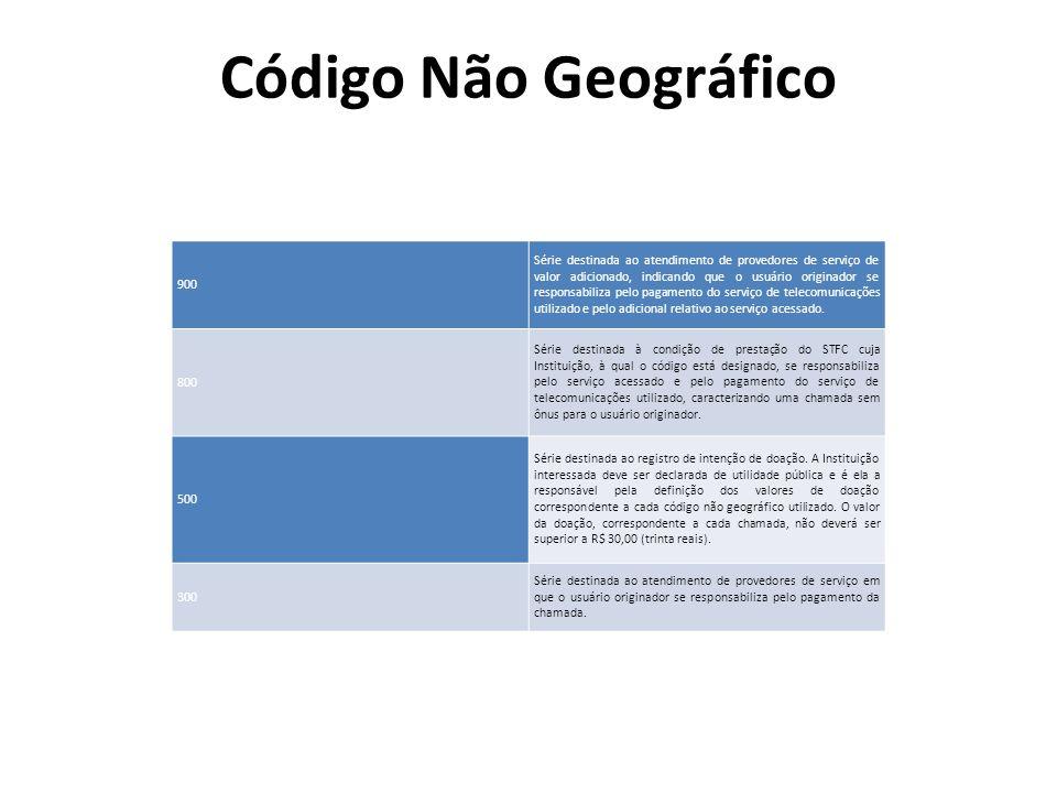 Código Não Geográfico 900 Série destinada ao atendimento de provedores de serviço de valor adicionado, indicando que o usuário originador se responsab
