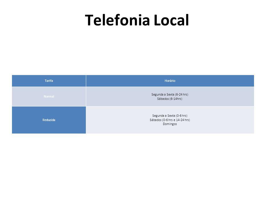 Telefonia Local TarifaHorário Normal Segunda a Sexta (6-24 hrs) Sábados (6-14hrs) Reduzida Segunda a Sexta (0-6 hrs) Sábados (0-6 hrs e 14-24 hrs) Dom