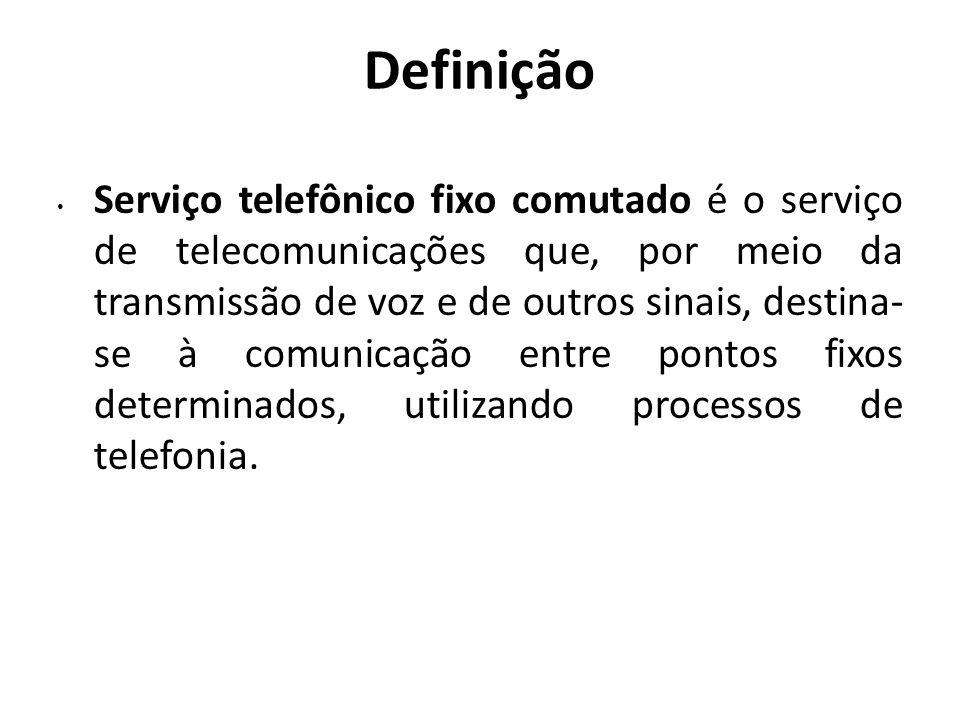 Definição Serviço telefônico fixo comutado é o serviço de telecomunicações que, por meio da transmissão de voz e de outros sinais, destina- se à comun