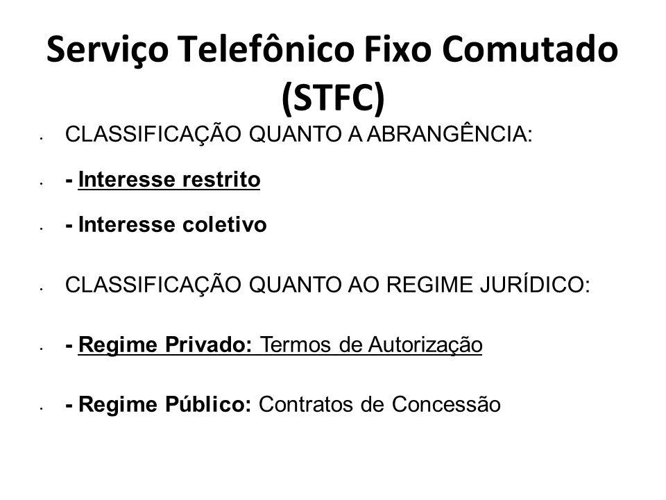 Serviço Telefônico Fixo Comutado (STFC) CLASSIFICAÇÃO QUANTO A ABRANGÊNCIA: - Interesse restrito - Interesse coletivo CLASSIFICAÇÃO QUANTO AO REGIME J