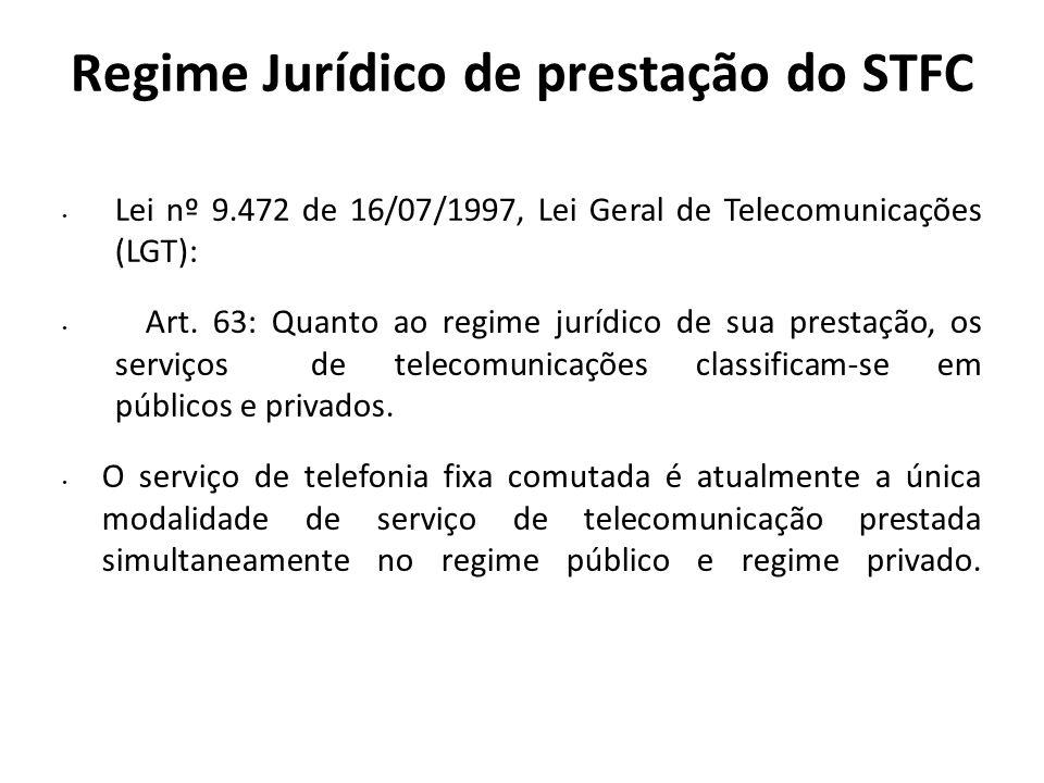 Regime Jurídico de prestação do STFC Lei nº 9.472 de 16/07/1997, Lei Geral de Telecomunicações (LGT): Art. 63: Quanto ao regime jurídico de sua presta