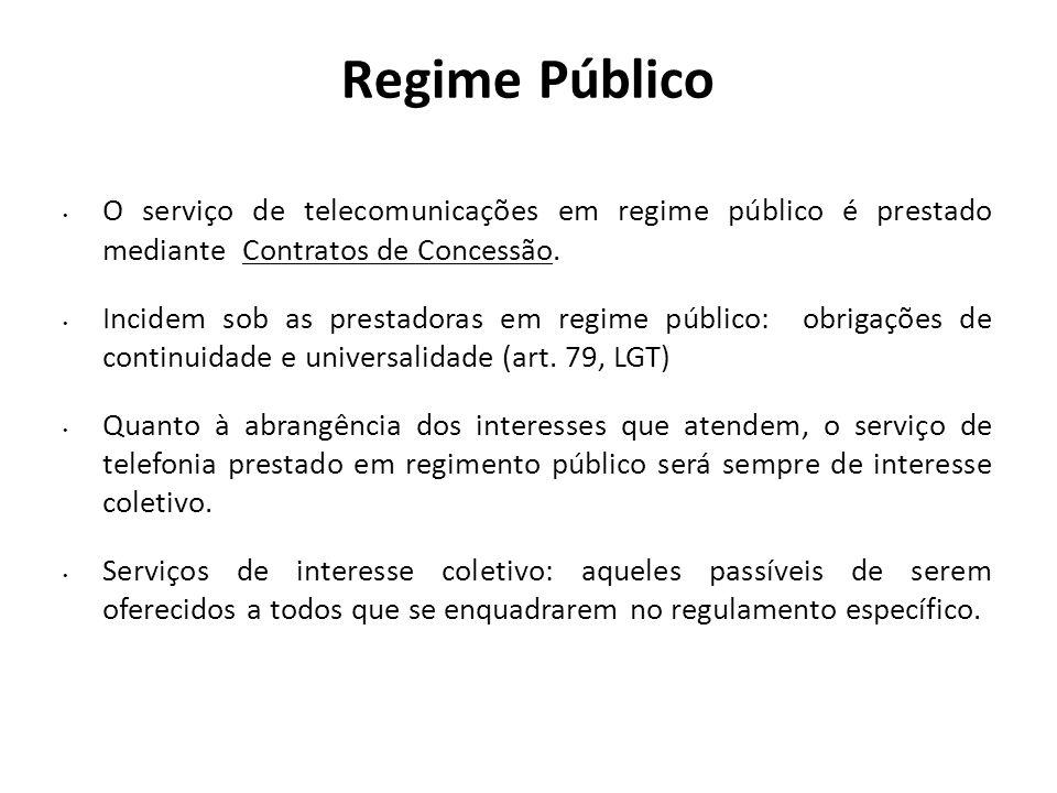 Regime Público O serviço de telecomunicações em regime público é prestado mediante Contratos de Concessão. Incidem sob as prestadoras em regime públic