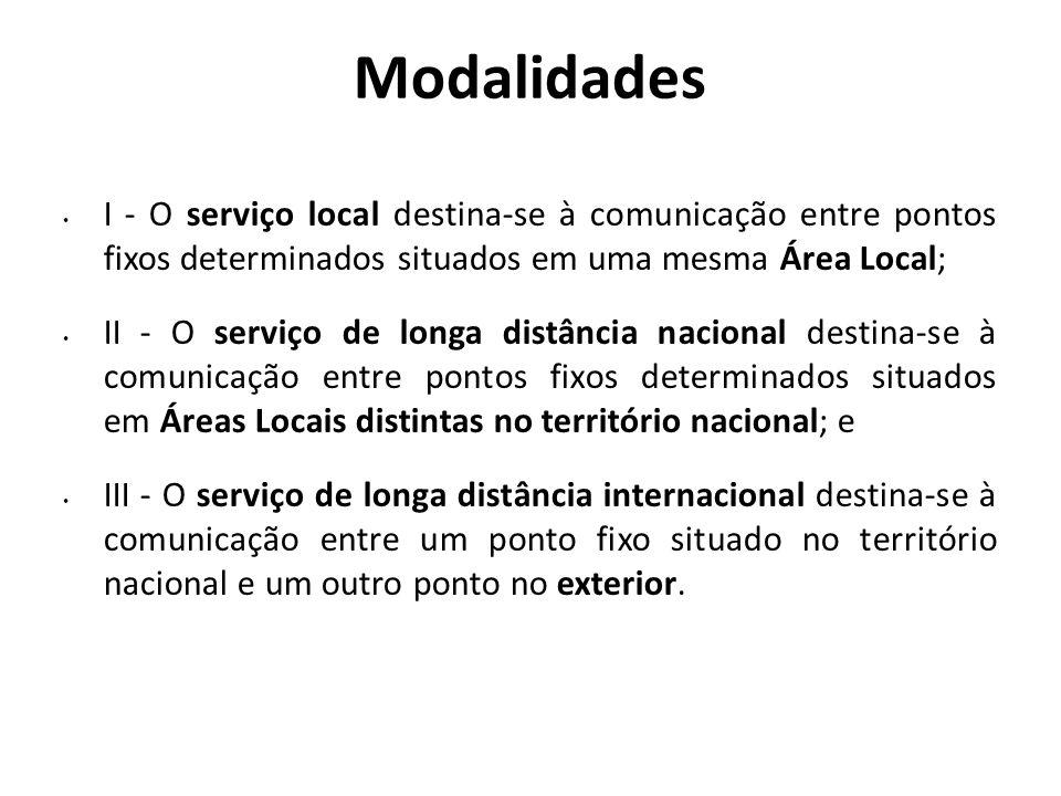 Modalidades I - O serviço local destina-se à comunicação entre pontos fixos determinados situados em uma mesma Área Local; II - O serviço de longa dis