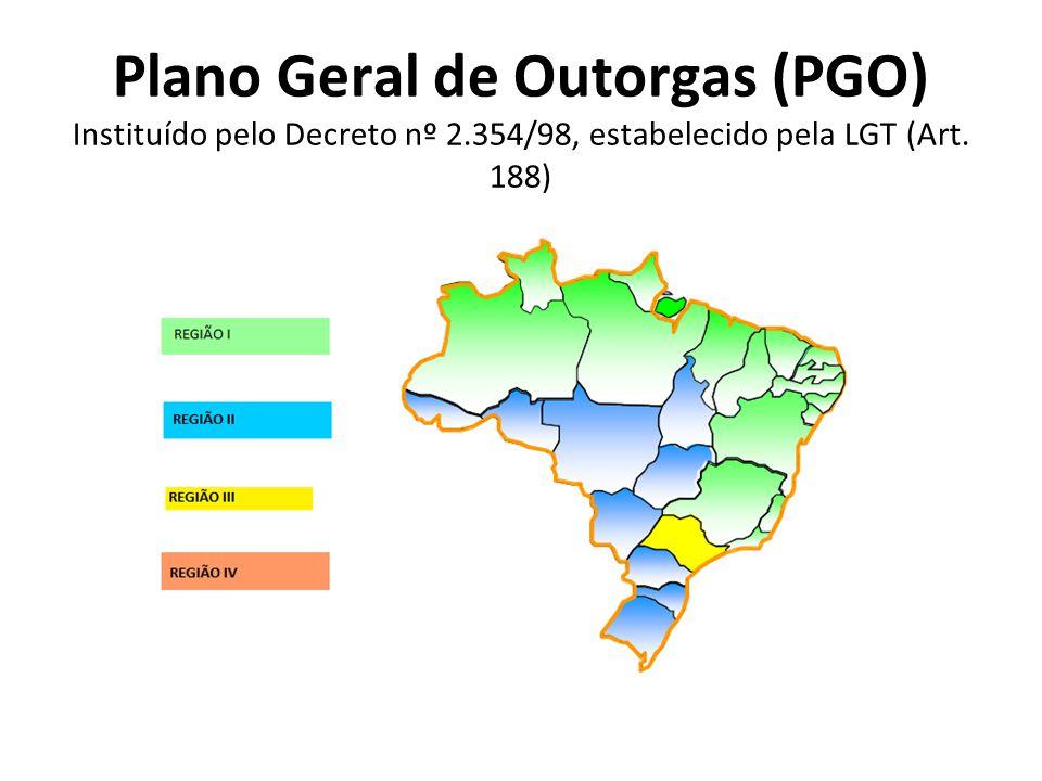 Plano Geral de Outorgas (PGO) Instituído pelo Decreto nº 2.354/98, estabelecido pela LGT (Art. 188)