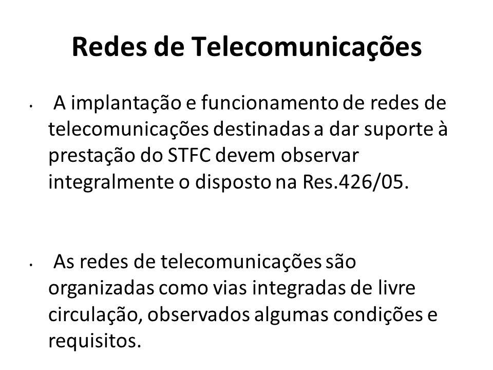 Redes de Telecomunicações A implantação e funcionamento de redes de telecomunicações destinadas a dar suporte à prestação do STFC devem observar integ