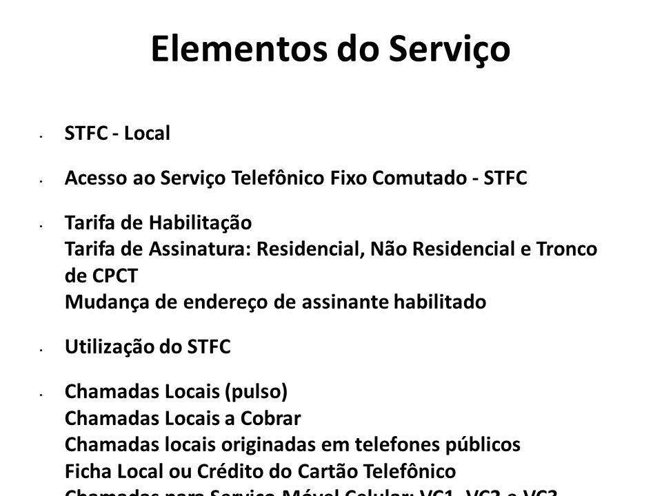 Elementos do Serviço Utilidades Comodidades STFC - Longa Distância Nacional Utilização do STFC Chamadas de Longa Distância Nacional: DC, D1, D2, D3 e D4 Chamadas para Serviço Móvel Celular: VC2 e VC3 Chamadas Manuais Chamadas originadas em telefones públicos Chamadas pagas com Ficha Local ou Crédito do Cartão Telefônico